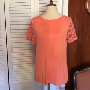 Apt 9 Summer Top with Crocheted Sleeves Size LP